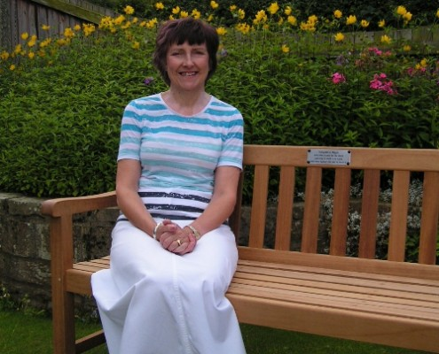 Maggie Davison with her bench