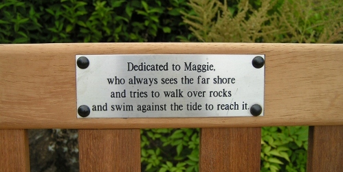 Plaque on Maggie's bench