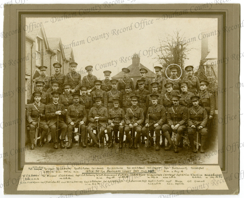 Officers 13th Btn DLI March 1915 (George Butterworth circled) Reproduced by permission of the Trustees of the former DLI and Durham County Record Office D/DLI 7/75/26