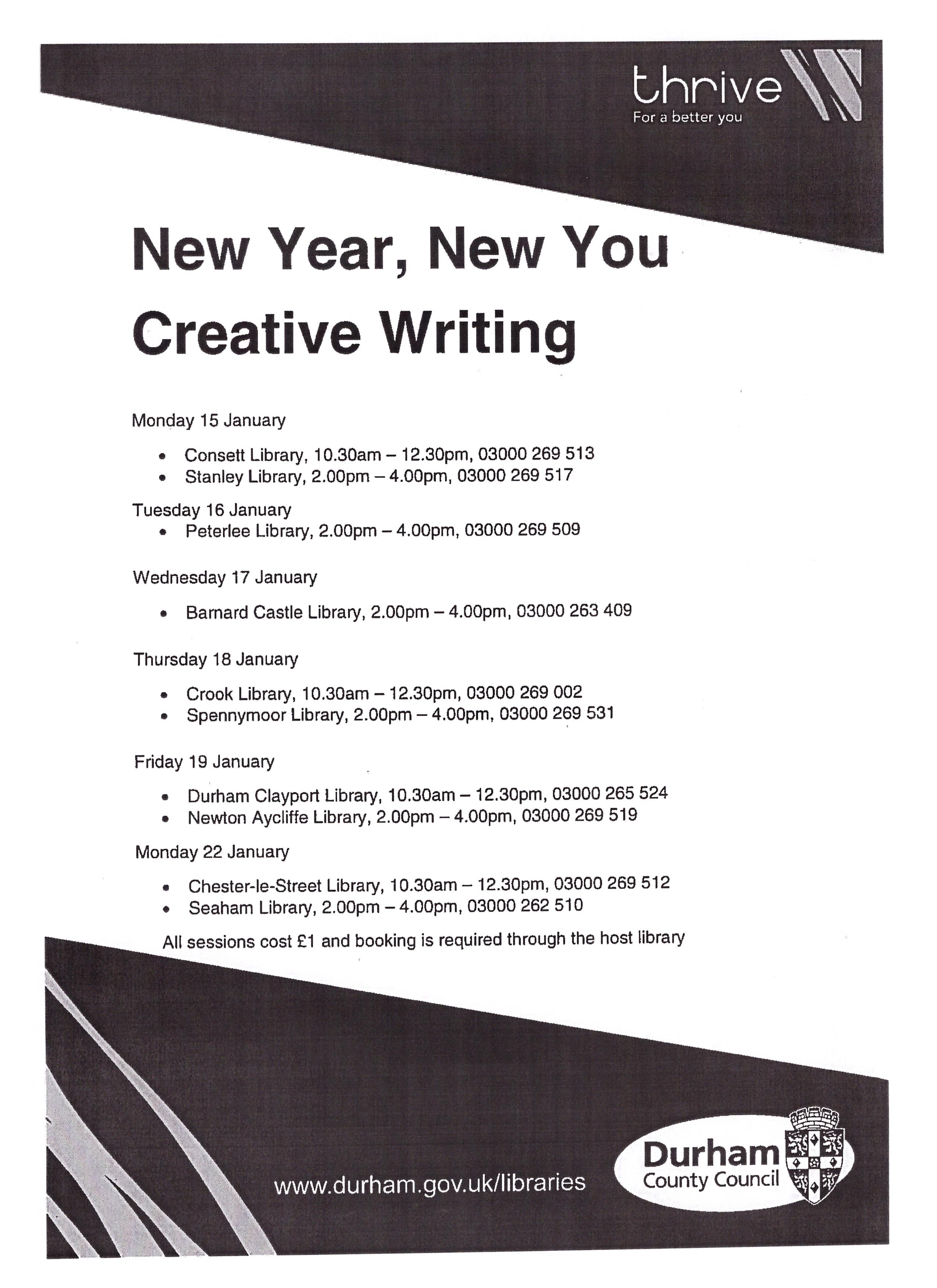 New Year, New You: creative writing sessions at County Durham ...