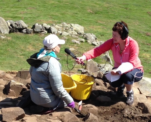 Recording stories at Holwick dig